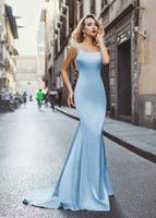 Wholesale Trumpet Square Neck Floor Length - Sexy 2017 Sky Blue Satin Beaded Crystal Mermaid Evening Dresses With Square Neck Long Backless Prom Dresses Evening Wear Formal Gown