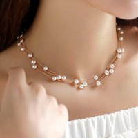 Wholesale Italina Pearls Necklace - OL style Fashion Simple Bare Inlaid 3 Layers Shell Pearl beads Necklace Italina Fashion Clavicle Necklace for Women