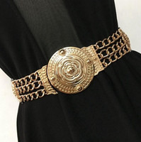 Wholesale elastic metal belt - Wholesale- Fashion gold carved flower metal chain waist belt for women party dress decoration elastic belts wide girdle high quality female