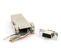 conector hembra lan al por mayor-Adaptador de conector hembra RS232 DB9 hembra a RJ45, RJ45 a DB9 RS232 com LAN a 232 db9 10PCS / lote