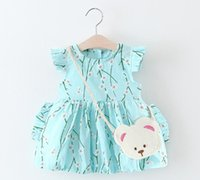 Wholesale Dress Bears Bags - 3 color 2017 Korean style Summer new fashion new arrivals kids cute Peach blossom printed dress little bear bag cotton dress free shipping