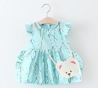 Wholesale Korean Summer Dresses Wholesale - 3 color 2017 Korean style Summer new fashion new arrivals kids cute Peach blossom printed dress little bear bag cotton dress free shipping