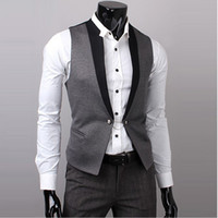 Wholesale Waistcoat Three Button Suit - Wholesale- 2017Hot Men Suit Vest Slim Dress Vests Men's Fitted Leisure Waistcoat Casual Business Jacket Tops Three Buttons
