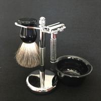 black badger brush NZ - New Wet Black Badger Shaving Brush Metal Safty Razor Holder Stand Facial Plastic Soap Bowl Cleaning Men Christmas Valentine 13 Business Gift