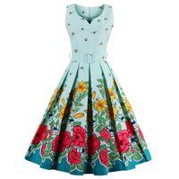 Wholesale Twill Pleated Dress - Summer Vintage Dress 2017 Vestidos Women Vestido Casual Elegant Retro Dresses Floral Bee Print 50s 60s 3XL 4XL