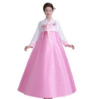 Wholesale Traditional Dress Cosplay - New Women's Korean Traditional Costume Long Sleeve Hanbok Dress Halloween Cosplay For party 5 colors Free shipping