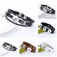 Wholesale designer leather jewelry for sale - Group buy Snap Jewelry Designer Stretch bracelet Snap Buttons Jewelry Cheap Charm Bracelets Silver Ginger Infinity Mens Leather Bracelets