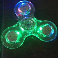 Wholesale focus kid - Acrylic LED Luminous Glitter Jelly Clear Fidget Spinner Crystal Hand Spinner Tri Fidget Ceramic Ball Desk Focus Toy OTH440