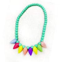 Wholesale Pearl Plastic Material - Girls Party Pearl necklace plastic Acrylic material Candy colors Children's beaded necklace Water droplets 5 pieces
