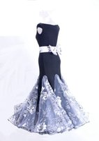 Wholesale Women Gray Belt Flower - New Ballroom Dance Dress Modern Waltz Standard Competition Gray Flower Dress with Bow Belt B01