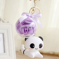 Wholesale Folk Life - Panda life Keychain support mobile phone flower pendant jewelry imitation crystal ball Jushi creative gift