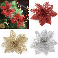 Wholesale Wholesale Artificial Xmas Trees - Wholesale-5 Colors 6 inch 1Pc Xmas Tree Glitter Flower Hollow Christmas Wedding Party Decor Ornaments Artificial Christmas Flowers