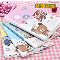Wholesale Rilakkuma Notepad - Wholesale- 14.5X21cm Kawaii Cartoon Rilakkuma Print Cover Color Page Mini Notebook Diary Notepad Travel Book