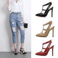 Wholesale Gem Shoes - 2017 New T strap pointed toe buckle strap rivets shoes with gem women pumps big size 35- 41