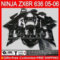 Wholesale kawasaki ninja zx6r black online - 8Gifts Colors Bodywork For KAWASAKI NINJA ZX ZX R CC gloss black HM14 ZX ZX R ZX636 ZX6R Fairing kit