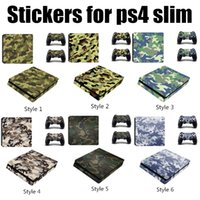 Wholesale Camo Vinyl Wholesale - camouflage Camo Style Vinyl Game Protective Skin Sticker For Playstation 4 Decal Cover Sticker For PS4 Slim Pro Console +2 Controller