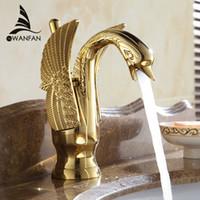 neue hahn-design groihandel-Neuer Entwurfs-Schwan-Hahn-Gold überzogene Waschbecken-Hahn-Luxuxkupfergoldmischer-Hähne heiß und kalt Hähne Freies Verschiffen HJ-35K