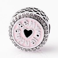 Wholesale Valentines Heart Glass - Authentic 925 Sterling Silver Bead Charm Hollow Pink Love Heart be my valentine Beads Fit Women Pandora Bracelet Bangle Diy Jewelry HKA3709