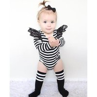 Wholesale White Baby Bodysuits Wholesale - ins 2017 Spring New Baby Girl Bodysuits Black White Stripe Lace Long Sleeve Jumpsuit Overalls Toddlers Clothing 0-3Y C007