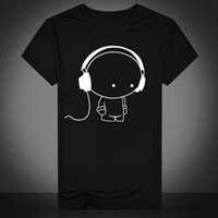 Wholesale Doll T Shirts - New youth men's short sleeve T-shirt, earphone men's short sleeve, casual print doll, men's clothing