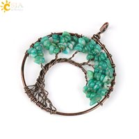 Wholesale Gold Aquamarine Pendant - CSJA Real Natural Reiki Gemstone Beads Aquamarine Amazonite Olivine Amethyst Wisdom Tree of Life Jewelry Charms Pendants for Necklace E508 B