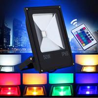 ac uzaktan kumanda toptan satış-100 W LED projektör RGBW açık su geçirmez 50 W 100 W 150 W 200 W rgb sel dmx güç yeterli süper parlak birçok renk ayarlamak + uzaktan kumanda