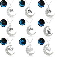 Wholesale Wholesales Best Friends Necklaces - Wholesale-Glowing In the Dark Moon Pendant Necklaces Silver Plated Chain Letter Charms Crescent Choker Necklaces Gift For Mom Best Friend