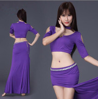 Wholesale Top Belly Dancers - 2-Piece Women Dancer Practice Clothing Belly Dance Costume Sexy Top+Skirt Stage Performance Wear Purple Navy Blue