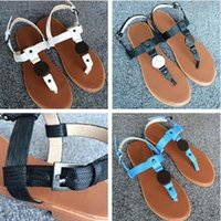 Wholesale 2017 Hot selling COLORS T BAR FLAT SANDALS Sandals comfortable flat sandals Large size