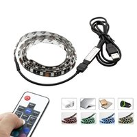 Wholesale Background Strip - DC5V USB LED Strip 5050 RGB 60LEDs m with 17Key RF Controller 50cm   1m   2m Set TV Background Lighting