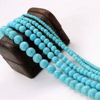 cuentas redondas de 12 mm. al por mayor-White Blue Turquoise Stone Beads Round Spacer Beads Findings 4/6/8/10/12 mm Para la fabricación de joyas DIY Craft Bead Material