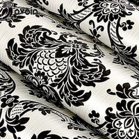 Wholesale Damascus Wallpaper - Wholesale-Floral wallcovering PVC wallpaper black silver damascus classic wall paper home decor background wall vinyl damask wallpaper