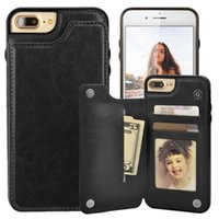 Wholesale Slimmest Iphone Folio Case - For iphone 7 Wallet Leather Case with Card Money Slots Slim Folio ID Window Shockproof TPU Cover for iphone 6 6S plus
