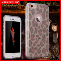 Wholesale Iphone Case Leopard Crystal - For iPhone 7 Plus Luxury 3 leopard prints Case Crystal Luxury glitter powder Flash Power Soft TPU Back Cover Hard PC Bumper Case