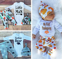 Spring / Autumn organic cotton beanie - Jumpsuits Thanksgiving Newborns clothing suit babies Romper pants hat beanie three piece suit boy girls clothing sets kids clothes