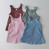 Wholesale Korea Suspenders - New Korea Girls Dress Sleeveless Bowknot Children Clothing Suspender Dress Kids Girl Clothes Vest Pure Color Dresses Pink Blue A7038