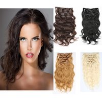 Resika Sexy Long Curly Clip In Human Hair Extensions 100% Non Traité 7pcs / set 16clips Toutes les couleurs Disponible 16-26Inch Option Livraison gratuite