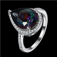 Wholesale Rainbow Vintage - Jewelry Palace Rainbow Fire Mystic Topazs Ring Trillion Concave Cut Sterling Silver Vintage Charm Fashion For Women Gift LKN18KRGPR879-C-8