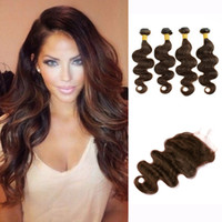 extensiones de cabello indio crudo al por mayor-4 paquetes con cierre de encaje Body Wave Hair Weave Bundles Brown Dark Raw Virgin Indian Indian Cambodian Extensiones de cabello humano