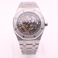 Wholesale Double Dial - top store luxury brand watches men grey dial see through watch royal oak double balance wheel openworked automatic watch mens watches