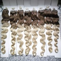 Body Wave Ombre Бразильская петля Micro Ring Hair Extensions 1g 800g color 4/613 Loop Ring Links Remy 100% натуральные волосы