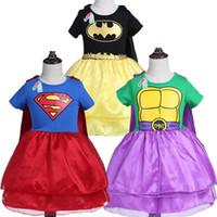Wholesale Super Man Costumes For Girls - New Children Kids Super-man Cosplay Clothes Girls Batman Dress With Cloak Short Sleeve T-shirts Dress Cosplay Costume Clothes For 3-7T