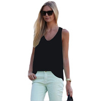 Wholesale Spagetti Tops - Wholesale-Fashion Spagetti Strap Vest Tank Top Sexy Womens Chiffon Sleeveless t-shirts Plus Size Camis T Shirt