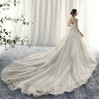 Wholesale Sweetheart Flowers - 2017 A Line Sweetheart Wedding Dress Sleeveless Organza Embroidered Beaded Hand-Made Flowers Illusion Backless Court Train Bridal Gowns