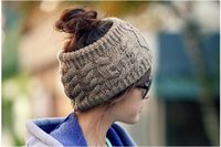 Wholesale 2017 Ponytail Knit Hats Autumn Winter Fashion Street Hat Beanie Knitted Hat Unisex Cap Headgear Headdress Head Warmer Skiing Caps