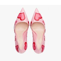 Wholesale Cute Stiletto Shoes - 2017 ZK shoes cute sweet genuine leather lady pumps heart pattern pointed toe 6cm heel height from 4`12.5 US size