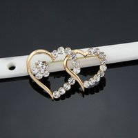 Wholesale Romance Brooch - Wholesale- Romance The Arrow of Love Heart Plating Rhinestone Brooches for Women Brooch Pins Jewelry Wedding Decoration