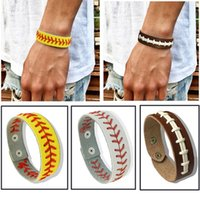 Wholesale Game Day Bracelet - Football Softball Baseball Leather Bracelets Wristlets Wristbands Stitches Sports Team Colors Gifts Game Wear Sports Accessories
