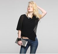 Wholesale Candy colorChiffon blouseIrregular designWomen s Tops Tees
