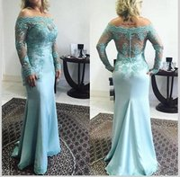 Wholesale Wedding Gown Long Sleeve Silk - 2017 Plus Size Blue Lace Mother Of The Bride Dresses Off Shoulder Long Sleeve Wedding Groom Dresses Formal Wear Evening Party Gowns
